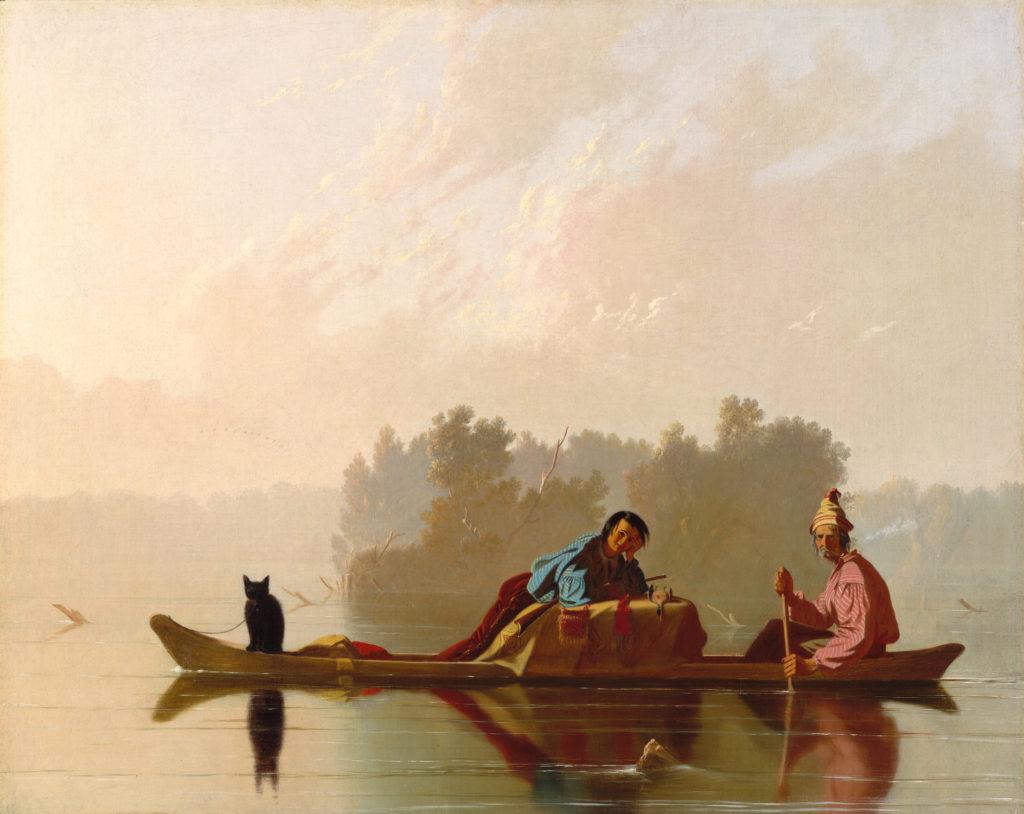 """""""Fur Traders Descending the Missouri"""" - painting by George Caleb Bingham"""