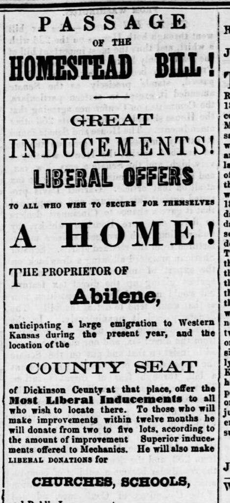 Ad in The Smoky Hill and Republican newspaper, Junction City, Kansas, July 3, 1862